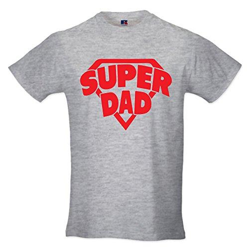 T-Shirt Maglia Uomo Maglietta Idea Regalo per Il Papa' Super Dad S Grigia