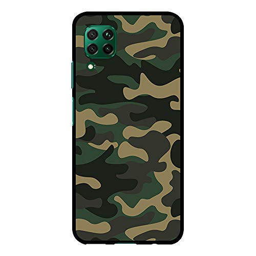 BJJ SHOP Schwarz Hülle für [ Huawei P40 Lite ], Klar Flexible Silikonhülle, Design: Camo Militärtarnung