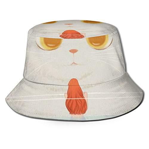 Ygoner Flat Top Breathable Bucket Hats Mermaid Fish of Cat...