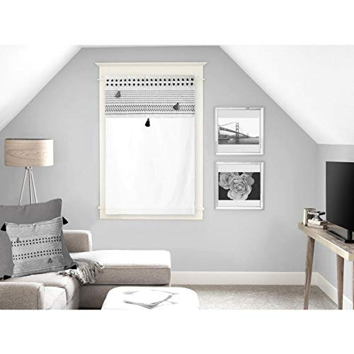 Soleil d'ocre Rideaux Brise-bise, Coton, Blanc, 60 x 90 cm