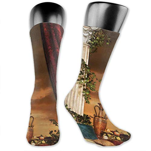 DHNKW Socks Compression Medium Calf Crew Sock,Greek Style Scene Climber Pillow Fruits Vine And Red Curtain Ancient Figure Sunset