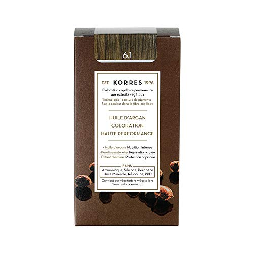 Korres ARGAN OIL ADVANCED COLORANT 6,1 ASH DARK BLONDE - 50ml + 75ml + 20ml