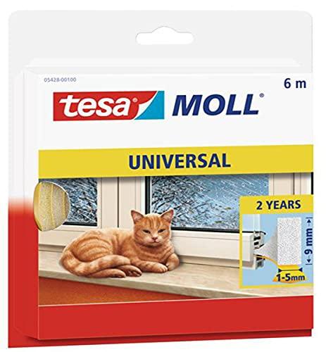 tesamoll Universal Schaumstoff - Schaumstoffdichtung zum Isolieren von Spalten im Haushalt, selbstklebend - Weiß - 6 m x 9 mm x 1-5 mm
