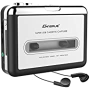 Dansrueus Updated Cassette to MP3 Converter, USB Cassette Player from Tapes to MP3, Digital Files for Laptop PC and Mac with Headphones from Tapes to Mp3 New Technology,Silver