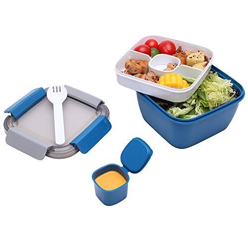 1.1 Liter Salatbehälter mit Getrenntem Dressingtöpfe und Besteck, Auslaufsichere Salatschüssel To Go mit 2 Fächern für Salattoppings und Snacks, Blau Salatbox aus Kunststoff