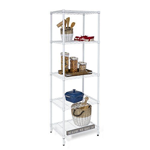 Honey-Can-Do SHF-01055 5-tier white shelving unit, 250 lbs