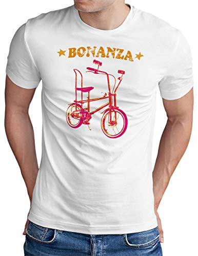 OM3® Bonanza Fahrrad T-Shirt | Herren | Retro Vintage Rad Bonanzarad I | Weiß, XL
