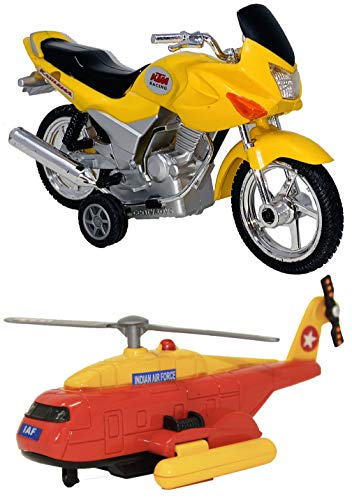 Toyify Pack Of 2 Small Size Made of Plastic Indian Look Like Replica Vehicle Toys for Boys Motor Cycle + Air Force Helicopter | Made in India Toy | Also USE AS SHOWPIECE [ Color May Vary ] [Small Size Toys] 2 COMBO OFFER