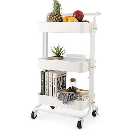 Himimi 3 Etagen Küchenwagen Servierwagen Rollwagen mit abschließbaren Rädern, Gitterkorb für Küche Büro Bad Weiß