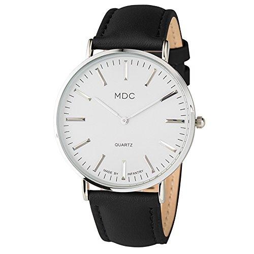 Herren Armbanduhr Lederarmband Uhr Schwarz Lässig Analogue Quarzuhr Mann Geschäfts Uhren Herren Klassisch Leder Herrenarmbanduhr by MDC