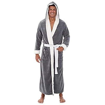 POQOQ Sleepwear Coat Men Hooded Winter Plush Shawl Bathrobe Long Sleeved Robe