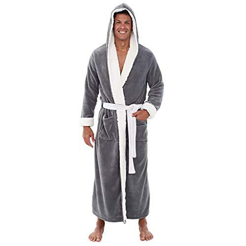 Susenstone Hommes Luxe Doux Corail Peignoir Homme Capuche Grand Taille 100% éPonge Coton Robe De Chambre Polaire (M, A Gris)
