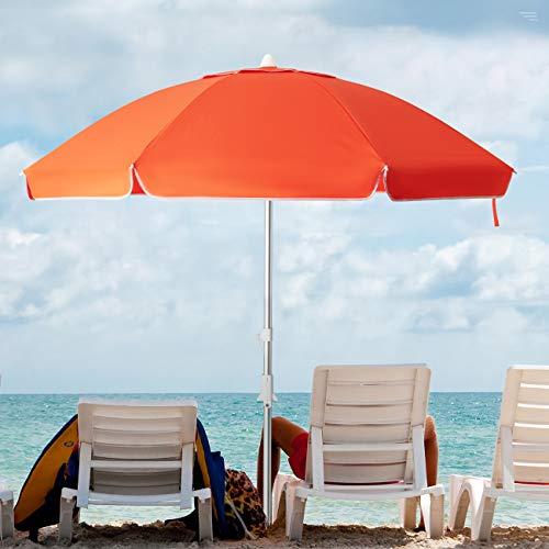 KITADIN 6.5FT Beach Umbrella Portable Outdoor Patio Sun Shelter with Sand Anchor, Fiberglass Rib, Push Button Tilt and Carry Bag (Orange)