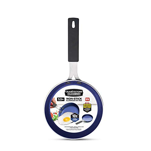 Granite Stone Diamond Granite Stone Classic Blue Nonstick Mini Single Serve Skillet Diamond Infused Multipurpose Pan Designed for Eggs Omelets Pancakes Rubber Handle 55quot