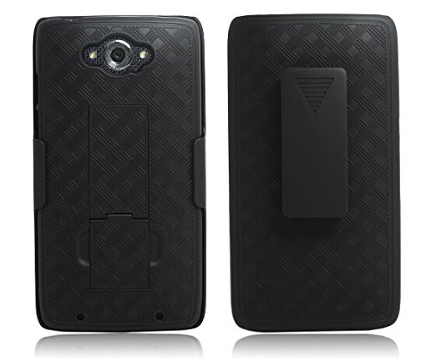XYZ? Moto Droid Turbo 2 Case (Verizon) Secure Holster Shell & Kickstand Combo Quality Dual Layer Multi Design Protection Cover (Black Holster Combo)
