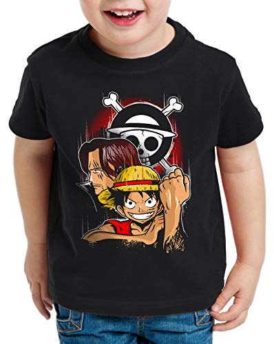 style3 Monkey D. Ruffy Camiseta para Niños T-Shirt Sombreros de Paja Anime Manga, Talla:152