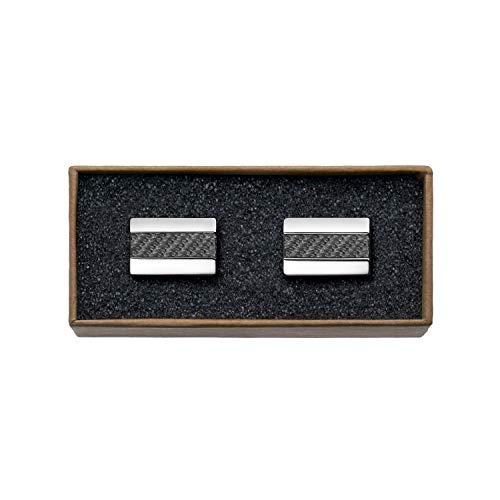 """VALDERO® Herren Manschettenknöpfe -\""""Premium Carbon\"""" in Box (1 Paar - Silbernes Metall, Schwarzes Carbon)"""