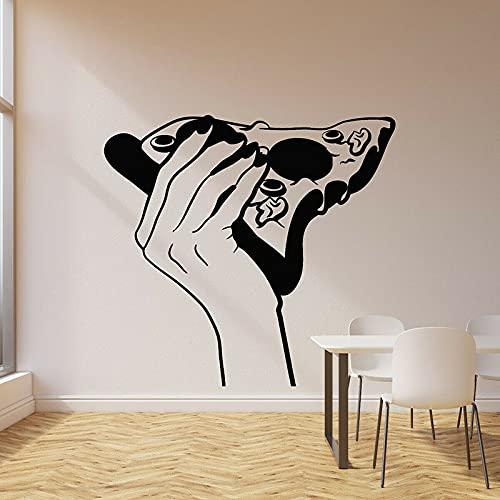 Etiqueta de la pared de la rebanada de pizza tienda de pizza comida italiana deliciosa Chef restaurante ventana pegatina de vinilo para nevera pegatina de pared artística A5 57x61cm