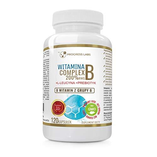 Progress Labs Vitamina B Complex Paquete de 1 x 120 Cápsulas Veganas Vitaminas B12 B6 B3 Biotina Niacina con Inulina y Leucina sin OMG