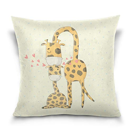 N\A Double Sided Lovely Animal Cartoon Giraffes Cotton Velvet Throw Pillow Inch Zipper Pillowcase for Decorative Pillows