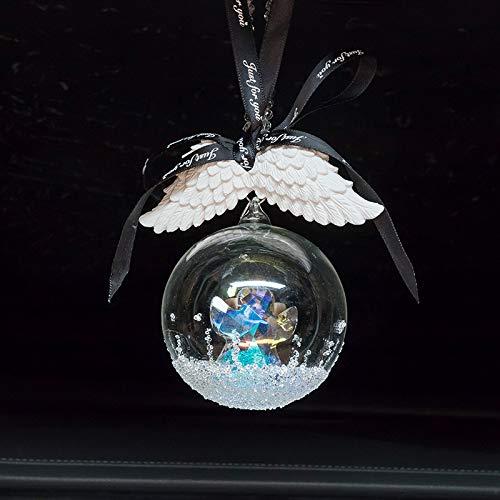 RAP Car hanger fantasy diamant hanger glazen bol auto kristal hanger glanzende achteruitkijkspiegel auto vrouwelijke sieraden omarmen engel glazen bol hanger + engelenvleugel hanger