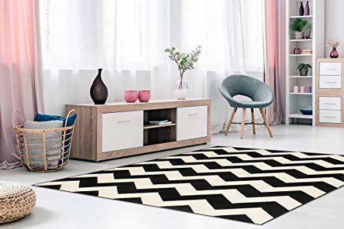 One Couture Zick Zack - Alfombra de Pelo Plano Arabesque Nordic Scandic Retro, Color Negro, para salón, Comedor, Pasillo, tamaño: 200 cm x 290 cm