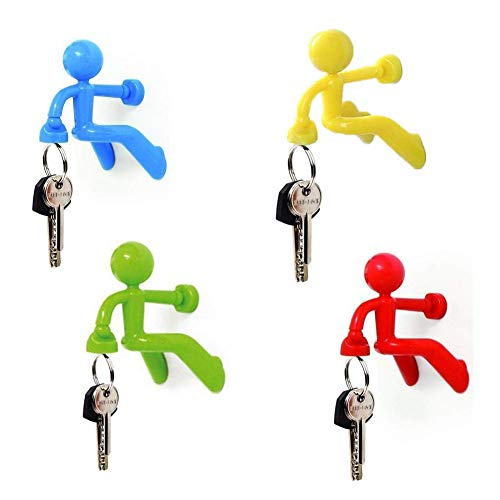 AOOPOO 4 Pack Wall Magnet Magnetic Home Storage Key Holders Climbing Man Hooks, Key Holder Fridge Refrigerator Magnets Kitchen Indoor Decoration Tool for Any Metal Surface (Red/Yellow/Blue/Green)