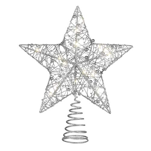 NUOBESTY Silver Star Tree Topper Christmas Glitter Star LED Star Ornament Christmas Decoration for Party Home Office, 25 x 30cm