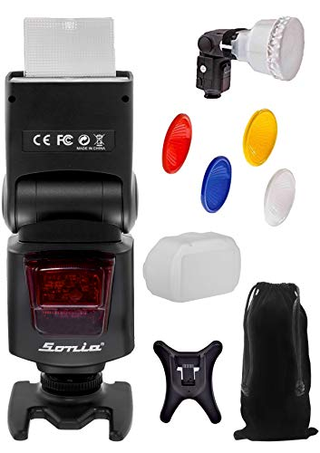 Sonia Camera Flash Speedlite Speedlight VT-631 for Nikon Canon Sony Olympus Pentax & All Other DSLR Cameras GN42 with Four Colours Flash Lambency Diffuser