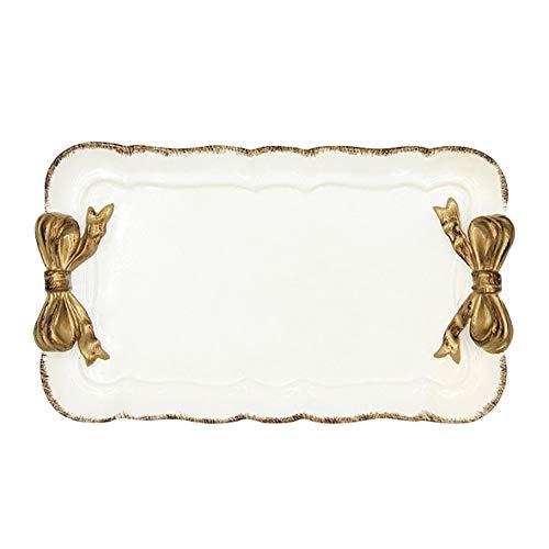 Platos llanos, Chapado en oro del patrón del Arco-nudo platos de postre Torta de la fruta de almacenamiento Bandejas...