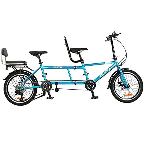 20 Pulgadas Bicicleta Tandem, Portátil Plegable De Acero De Alto Carbono Rueda Tándem Bicicleta Bicicleta Capacidad 3 Plazas Familia, Panorámica/pareja/scenery Travel Doble Bicicleta Del Montar