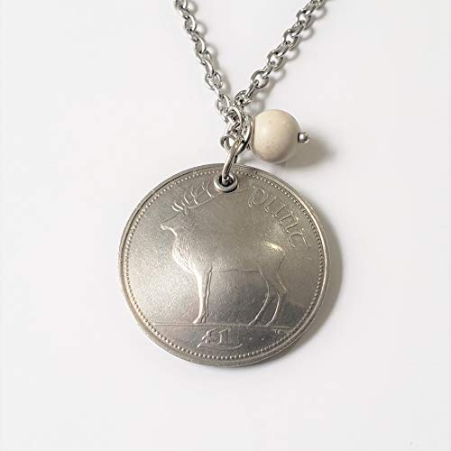 CoinageArt -Ireland Coin Necklace Irish Deer Celtic Stag Necklace from Ireland domed coin dated 1994 with Ulster White Stone on Adjustable Length Cable Chain -Irish Elk Coin Necklace 803
