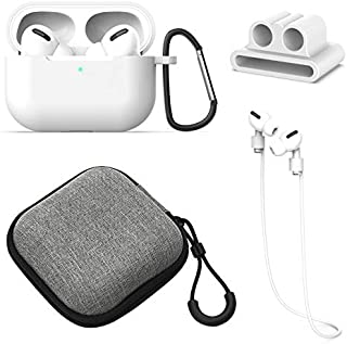 Josi Minea 4 in 1 Accessory Kit - Earphone Straps, Watch Band Holder, Hard Case Pouch & Charging Case Protective Cover Skin with a Keychain compatible with New Apple AirPods Pro [4 Pcs AirPod Pro Set]