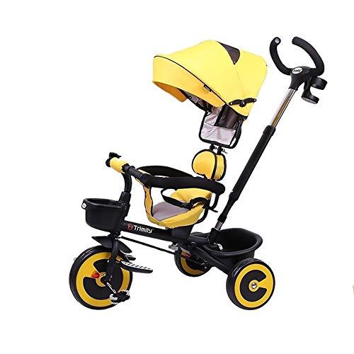 WENJIE Bicicleta for Bebés De 1-3-6 Años Triciclo Carrito De Bebé Ligero Empujar Y Montar Cochecito De Niño Juguete Niño Niña (Color : Yellow)