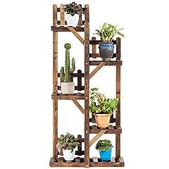COSTWAY plantplank bloem plank, bloem staan hout, bloem trap tuin, plant trap meerdere verdiepingen, houten plank (5 verdiepingen / 130,5 x 60 x 25 cm)*