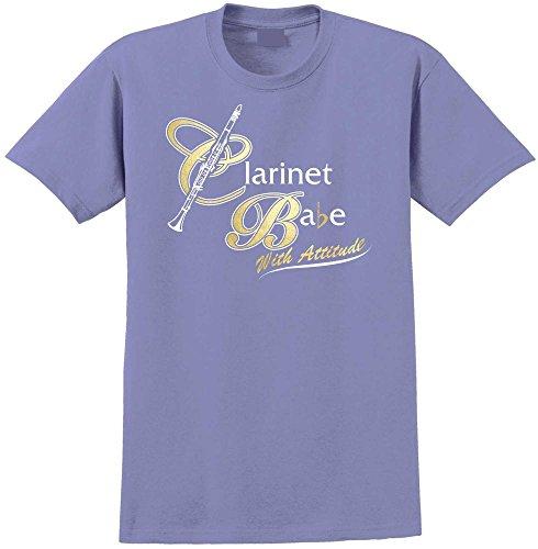 MusicaliTee Clarinet Babe Attitude - Violet Unisex T Shirt Chest 48 2XL