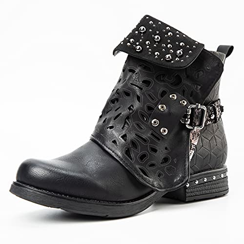 LALA IKAI Women Motorcycle Boots Combat Ankle Combat Boots with Studded Low Block Heels Biker Shoes Black/Gray/Brown