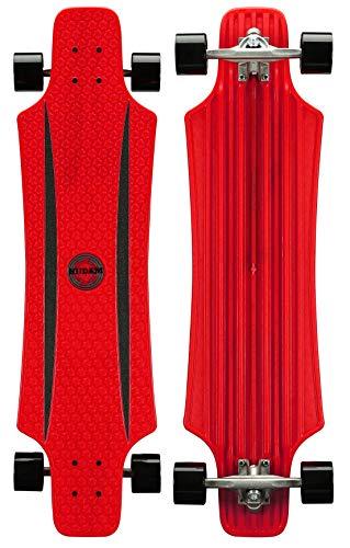 Nijdam X-Flex plastica Longboard, Unisex, 52OL, Rosso/Nero, One Size/36 Zoll