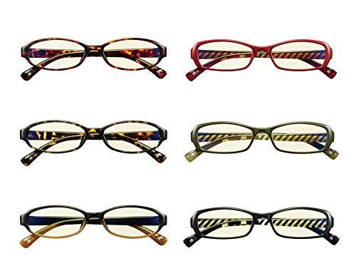 ツクス眼鏡店 老眼鏡 ブルーライト・UVカット 選べるデザイン6種類 超軽量しなやかフィット 男女兼用 (オーバル型ベッコウレッド, 1.5度)