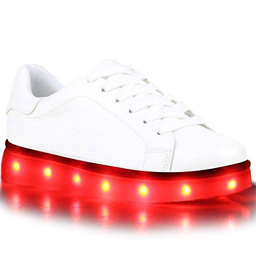 stiefelparadies - Blinkende Damen Herren Kinder Mädchen Jungen Sneakers High Low Led Light Farbwechsel LED Licht Schuhe 118505 Weiss Brooklyn 35 Flandell