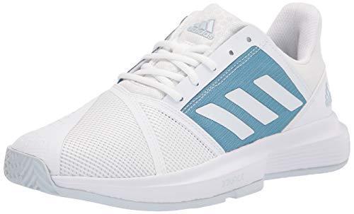 adidas Men's Courtjam Bounce Tennis Shoe, White/White/Hazy Blue, 9