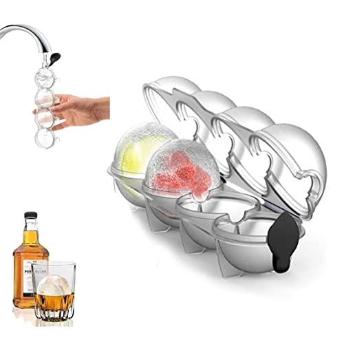 Molde redondo para hacer 4 bolas, molde redondo para hockey sobre hielo, whisky, cubo de hielo y bandeja (2 unidades)
