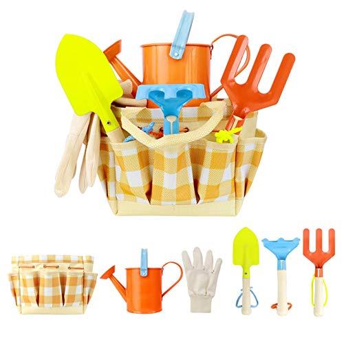 6-teilig Spielwerkzeuge für den Garten/Strand, 6 Werkzeuge und Gießkanne in Tragetasche, Kinder gartenwerkzeug-Set,Gartengeräte für Kinder Set, Gartenset Kinder,Gartenwerkzeug Set Klein, Gardening