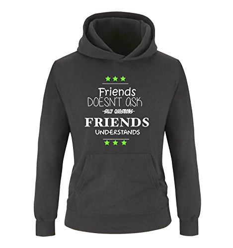 Comedy Shirts - Sweat-Shirt à Capuche - Manches Longues - Fille - Noir - Medium