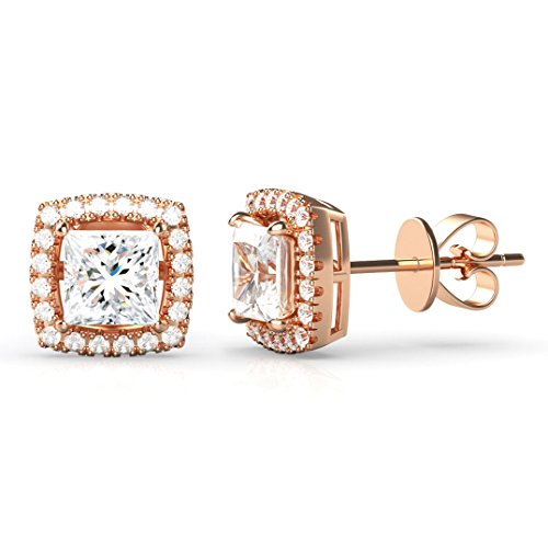 925 Rose Gold Plated Sterling Silver Princess Cut CZ Cubic Zirconia Halo Earrings