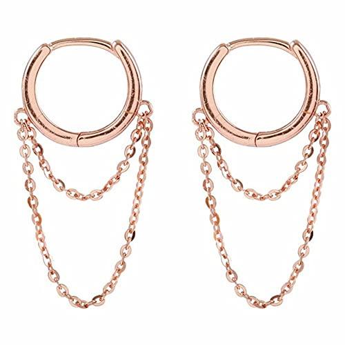 CloverGorge Pendiente de Cadena Larga para Mujer Pendientes de Plata de Ley 925 Pendientes de Anillo de joyería de Moda Regalo del día de San Valentín