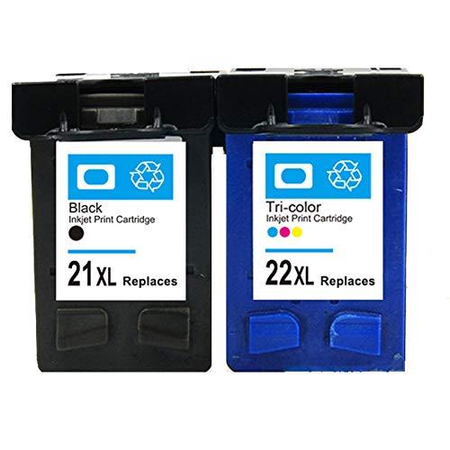 SSBY Reemplazo de Cartucho de Tinta Compatible para HP 21XL 22XL, se Adapta a Deskjet F2120 F2280 F380 F390 F4180 F335 F375 F4190 D2360 OfficeJet 4315 4355 Impresora
