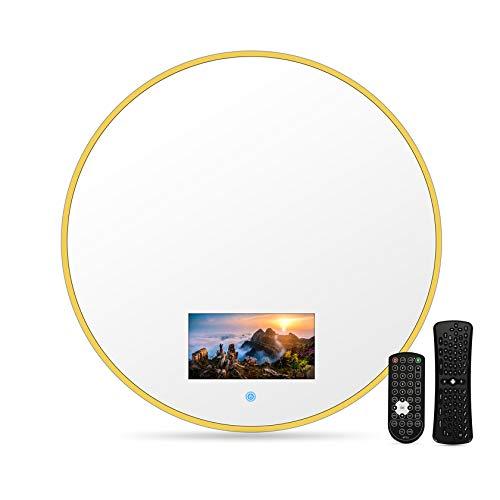 Smart Touch TV da bagno, Smart TV impermeabile con specchio 40/60 cm con Wi-Fi, altoparlanti integrati (Android 10.0), on-demand online, trasmissione dal vivo, può giocare, con WIFI,60*60cm