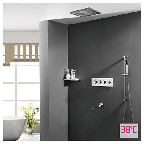 HMQQ badkamerschep, donker gemonteerde wanddouchegarnituur, warm en koud schakelregelventiel, inbouw-top-spray, bediening met vier knoppen, C, E