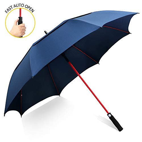 ZOMAKE 157cm Automatische Öffnen Golf Schirme Extra große Übergroß Doppelt Überdachung Belüftet Winddicht wasserdichte Stock Regenschirme (Marineblau)